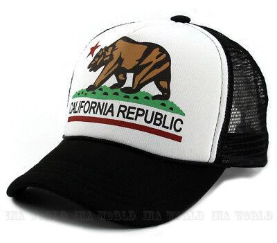 California Republic hat Foam Mesh Trucker Snapback Baseball cap- White/Black