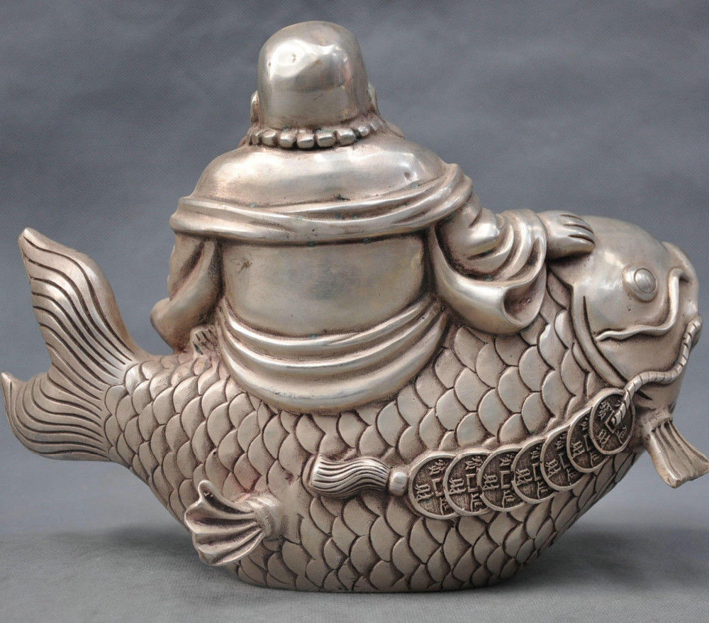 China Silver Bronze Happy Maitreya Buddha Monk Ride Fish Statue