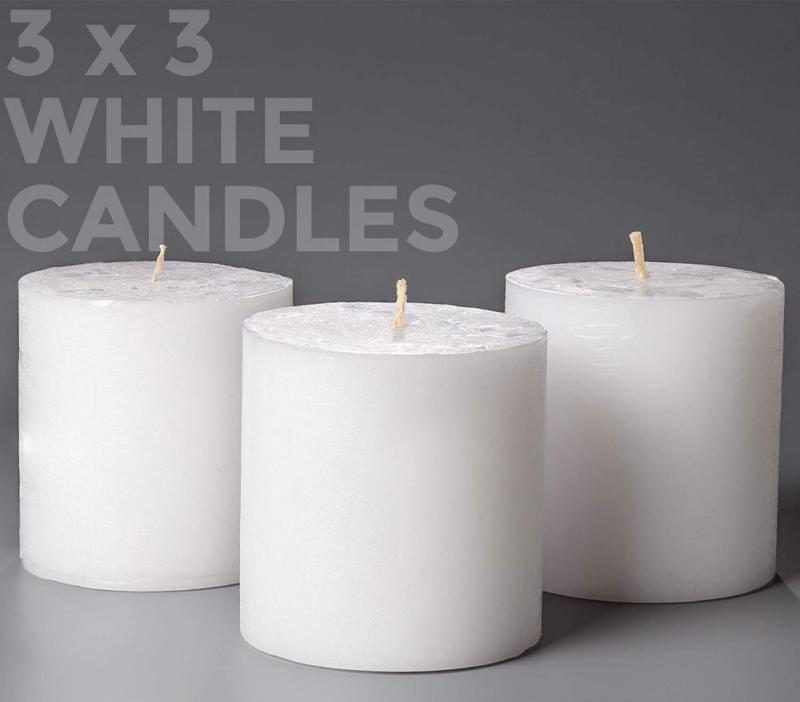 set of 3 white pillar candles 3
