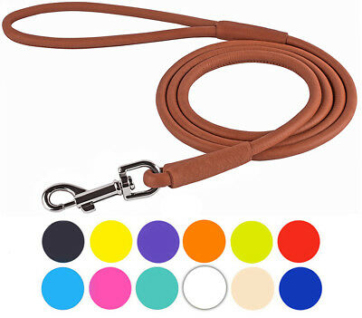 Rolled Leather Dog Lead 4 or 6 ft Soft Training Leash Puppy Small Medium -