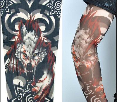 Skeleton Fake Tattoo Nylon Elastic Arm Sun Protection Sleeve Cycling Sports - Fake Skeleton