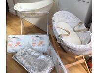 Various Baby items - Moses basket, baby bath, crib mattress, moses mattress...