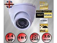 WHITE NIGHT VISION CCTV DOME CAMERA 1080P 2.4MP SONY HD TVI AHD 4IN1 3.6mm 20m