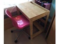 Ikea beech desk and pink chair