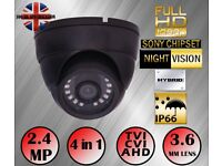 GREY NIGHT VISION CCTV DOME CAMERA 1080P 2.4MP SONY HD TVI AHD 4IN1 3.6mm 20m
