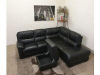 Black Leather L-Shape Corner Sofa With Storage Foot Stool