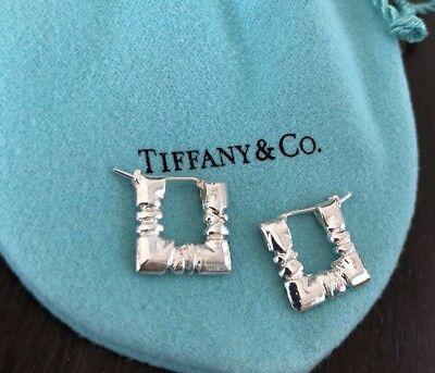 Tiffany & Co. Sterling Silver Atlas Square Cushion Pierced Hoop Earrings in Box