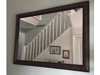 Large Mahogany Decoratively Framed Mirror Measurements 41in/104cm x 28.5in/73cm