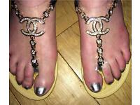 Summer sandles by Chanel and Swarovski crystal stones