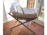 Beautiful white Mothercare Moses Basket and Stand & New Mattress