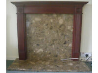 Marble fireplace with wood mantlepiece & brass fender