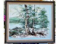 """An Original Vintage Impressionist Riverscape Oil Painting 24"""" x 20"""" canvas in Frame"""
