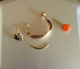 9ct Yellow Gold Scrap Jewellery 9KT 1 gram Hallmarked 375 Coral Sapphire Stud Earrings Odd Hoop