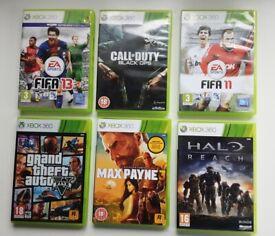 XBOX GAMES BUNDLE CALL OF DUTY:BLACK OPS / GTA 5 / FIFA 11/13 / MAX PAYNE 3 / HALO REACH