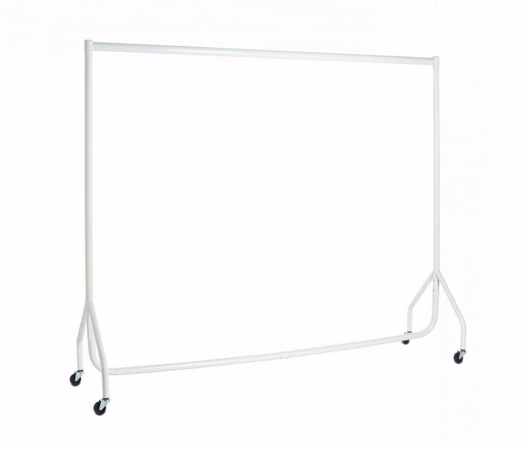 NEW IN BOX - 6ft. Long x 5ft Tall WHITE CLOTHES DRESS GARMENT DISPLAY COMMERCIAL STRENGTH RAIL STAND
