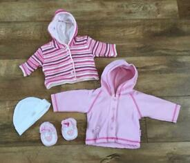 Two newborn baby girl hooded cardigans, hat and booties