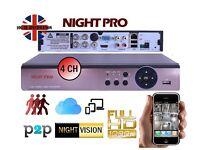 AHD 1080P/720P DVR 4CHANNEL VIDEO RECORDER CCTV HD NETWORK CLOUD P2P HDMI *