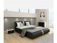 Italian double bed black leather