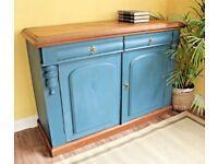 arge English Victorian OAK painted Sideboard Cabinet Cupboard Storage Dresser