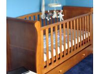 Pine Sleigh Cot Bed