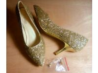 BNWOB Beautiful Bijou x Gold Glitter Shoes Size 40