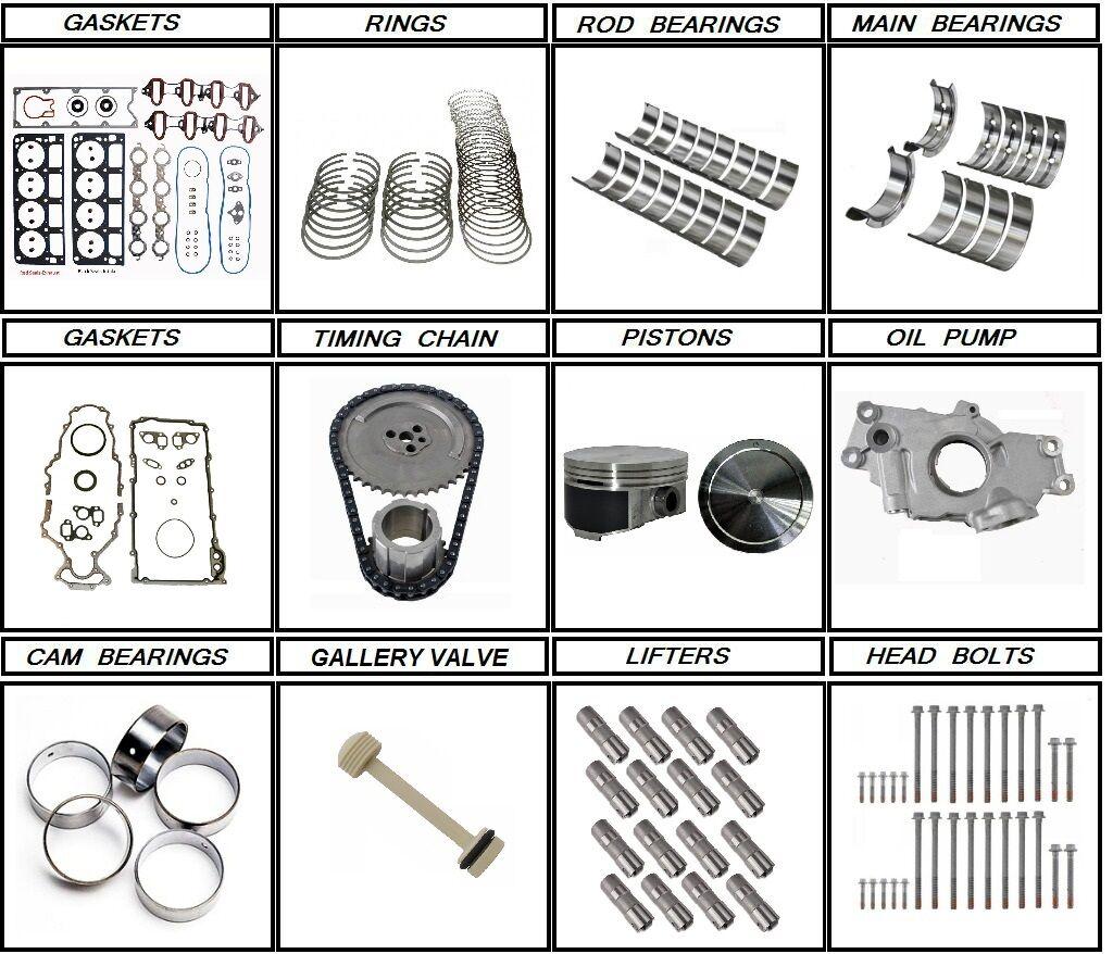 99 - 00 Chevrolet GM 6.0 Engine rebuild kit + lifters + head bolts LQ4