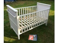 Beautiful white cot bed . Child baby toddler bed . Nursery bedroom furniture