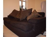 brown 2/3 seater sofa good cond