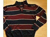 Men's Pierre Cardin Burgundy Navy Blue White Striped Quarter Zip Funnel Neck Sweater-Size Large.