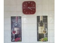2 pictures and a wall clock