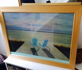 Late beach picture with wooden frame
