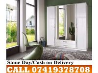 Akira Trio 3 and 4 door wardrob high gloss black colour and white colour