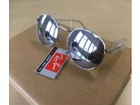 RAY-BAN Round Flash Sunglasses / Silver mirror lenses metal glasses frames wayfarer
