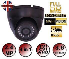 GREY &WHITE NIGHT VISION CCTV DOME CAMERA 1080P 2.4MP SONY HD TVI AHD 4IN1 3.6mm 20m