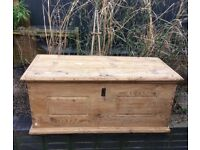 Antique pine chest/ coffee table/ toy chest/ blanket box