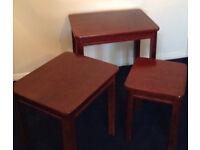 Space Saving Nest Design Mahogany Tables