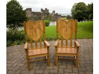 Beautiful hand crafted oak wedding thrones. Designed and crafted for bride and groom.