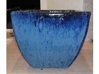 Blue glazed flower pot