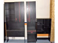 Set of 3 black shelving, drawer and cupboard units for study