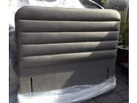 Double Bed- Free Standing Headboard - Steel Grey Velvet - New / Boxed
