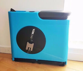 Bike box blue compact and portable execise bike for any household who has no space.