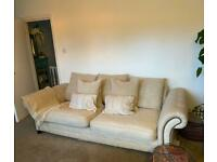 3 seater Chesterfield style cream sofa/couch