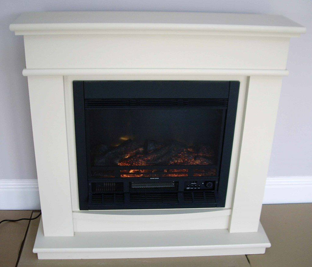 Stone Effect Fireplace Surrounds Part - 17: Be Modern Detroit Electric Fire Suite With MDF U0027cream Stone Effectu0027 Fireplace  Surround