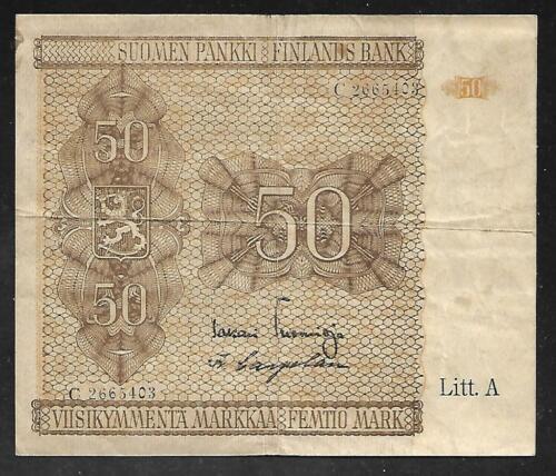 Finland - Old 50 Markkaa Note - 1945 - P79b - VF