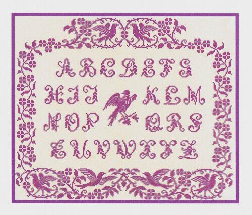 Grille point de croix ab c daire aux oiseaux r f - Abecedaire point de croix grilles gratuites ...