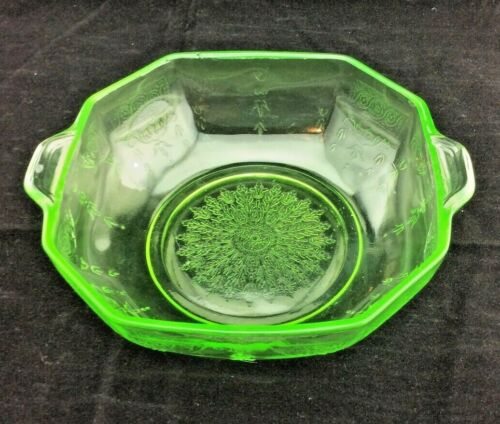 Hocking Depression Glass Green Princess Pattern Cereal / Oatmeal Bowl 5""