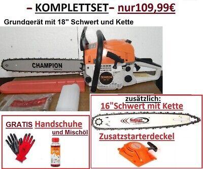 "- KOMPLETTSET - Starke Benzin Kettensäge Motorsäge 18"" u. 16"" von CHAMPION 5,2PS"