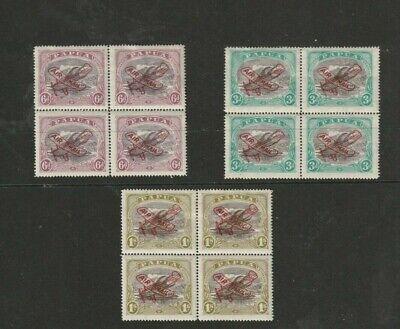 STAMPS  PAPUA  19300  LAKATOI   PLANE OVERPRINT   SET  [ASH]  BLOCKS OF 4    MUH