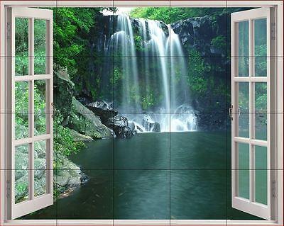 24x30 Ceramic Tile MuraL Backsplash or Wall Decor' Waterfalls Window View