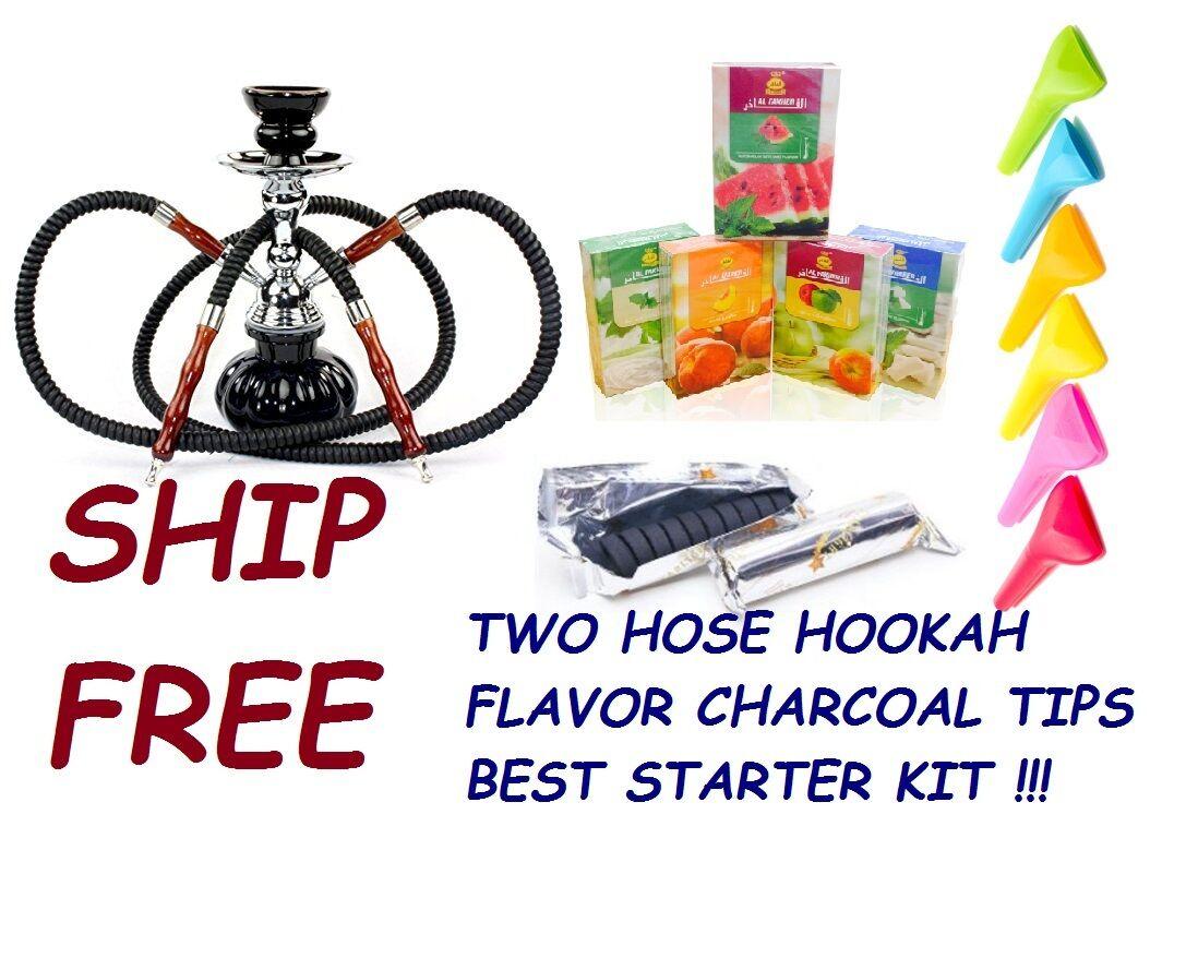 2 Hose Hookah Glass Water Pipe Vase Nargila With charcoal Al Fakher Flavor Tips
